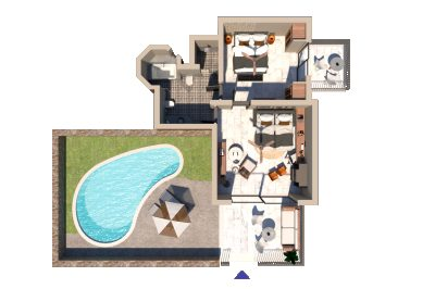 Family Suite with Private Pool & Sea View
